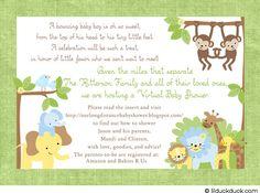 Jungle Safari Shower Invitation Cute Baby Monkey Elephant Lion