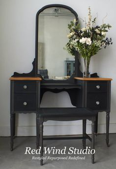 Bring it all together and voila the little black dressing table. What lovely lady wouldn t want to sit here and get ready for that special evening out?  http://redwindstudio.ca/store/2014/03/16/the-little-black-dressing-table/