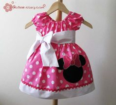 Boutique Style Minnie Dress Hot pink Polkadots and by cutieflair, $45.00