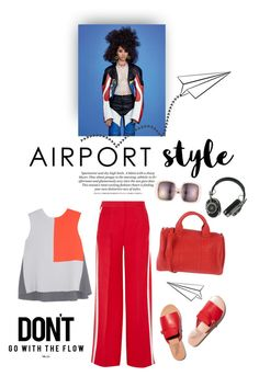 """""""Fly away"""" by iriadna ❤ liked on Polyvore featuring Fendi, Karen Walker, Alexander Wang, Roksanda Ilincic, Master & Dynamic, red, CasualChic and airportstyle"""