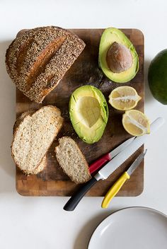making avocado toast for breakfast - YUM.