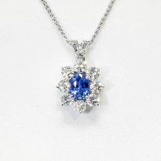 Bright Blue & Beautiful Estate 2.02ct t.w. Natural Sapphire Diamond Pendant 18k