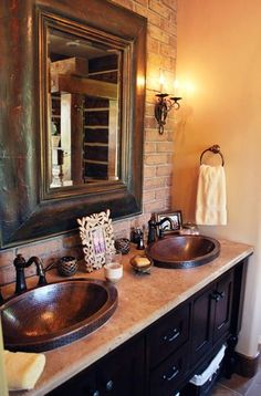 Pocatello Master Bathroom - could take existing tile and match with copper/bronze sinks #BathroomSinks