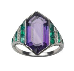 An Art Deco Amethyst and Emerald Ring, Van Cleef & Arpels - Sold at FD