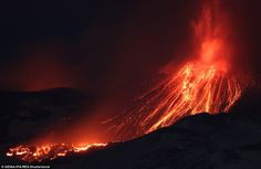 This file photo shows an eruption at Mount Etna on Wednesday, before the latest incident w...