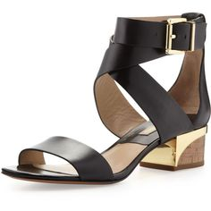 Michael Kors Tulia Low City Sandal (4 280 UAH) ❤ liked on Polyvore featuring shoes, sandals, black, open toe sandals, black ankle strap sandals, michael kors sandals, black criss cross sandals and chunky sandals