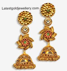Explore the magnificent collection of traditional jhumka earrings that fits with every occasion and clothing. A wide range of Indian fashionable bridal gold jhumki earrings, only on India's splendid online jwellery store, Azva. Diamond Jewelry, Gold Jewelry, Jhumka Designs, Indian Bridal, Gold Beads, Bangle Bracelets, Bangles, Jewelry Design, Designer Jewellery