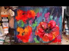 A great demo of a mixed media painting of poppies using Liquitex Heavy Body Paint
