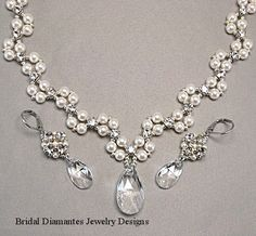 Wedding Necklace and Earring Set Statement by BridalDiamantes