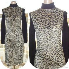 $89.99- Vintage 60s Faux LEOPARD Fur MOD Beatnik Go-Go Dress Cable Knit Sweater Sleeves