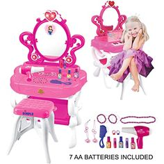 2-in-1 Musical Piano Vanity Set Girls Toy Makeup Accessories with Working Piano & Flashing Lights, Big Mirror, Pretend Cosmetics, Hair Dryer - Princess Image Appears in Mirror, 7 AA Batteries Included Girls Vanity Table, Vanity Table Set, Makeup Table Vanity, Vanity Set, Makeup Chair, Little Girl Vanity, Little Girls Makeup, Kids Makeup, Modern Makeup Vanity