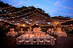 Twinkle light canopy at night, Garden Lawn - Four Seasons Resort Hualalai Weddings