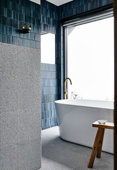 Natural Home Decor Doherty Design Studio (Australia): gorgeous mixed tile bathroom wall.Natural Home Decor Doherty Design Studio (Australia): gorgeous mixed tile bathroom wall Modern Bathtub, Modern Bathroom Design, Bathroom Interior Design, Modern Interior Design, Bathroom Designs, Bathtub Designs, Modern Faucets, Modern Bathrooms, Design Interiors