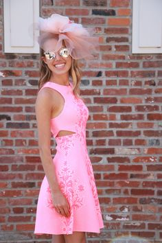 Amanda Uprichard Cut-Out Pattern Dress // DVF Nude Wedges // Headcandi Fascinator // Dior So Real Sunglasses // Kentucky Oaks Pink Out // Kentucky Derby // snapped by gracie