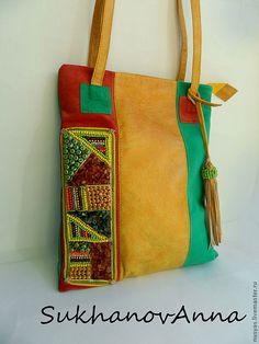 """Купить Сумка """"Стильное лето"""" - летняя сумка, Кожаная сумка, комбинированная сумка, замшевая сумка"""