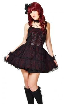 This sexy japanese style gothic lolita dress is perfect for the fun and playful soul in you. This fashionable dress dazzles and delights in two exotic colors: Spicy wine (Red and Black) or Sweet Burgundy (Purple and Black). Included with dress are wrist cuffs and choker. Elegant ribbons weave through the breast piece in sleek fashion. $64.95  http://gothiclolitastore.com/product/sexy-japanese-gothic-lolita-dress/  #goth #gothic #lolita #dress #black #cute #sexy