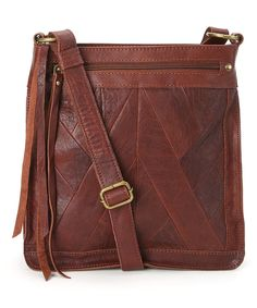 Look at this Brown Small Piece Train Leather Crossbody Bag on #zulily today!