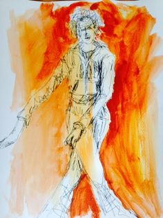 Painting with acryliques and drawing with a marker on music with a dancer.