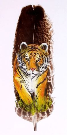 Tiger painting on feather