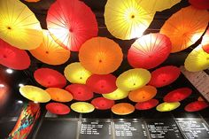 Bright ceiling in a modern Chinese restaurant