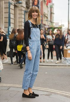 London Fashion Week SS15: LFW Street Style - denim dungarees, chanel bag, black loafers