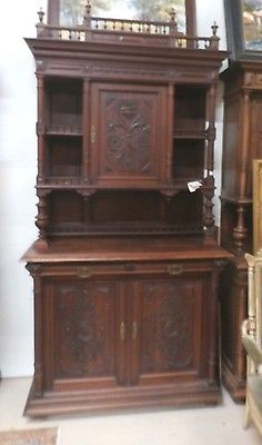 Antique-French-Double-Buffet-Cabinet-1880s-Removable-Rail-H-103-x-W-53-Knights