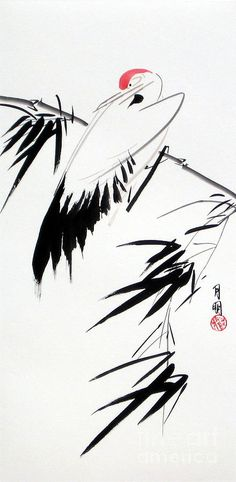 Bird Painting - Crane And Bamboo by Ming Yeung