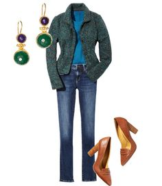 Pair this slim aqua-flecked jacket with straight-leg jeans and high-heeled loafers. Ribbed-knit top, $78, Boden; bodenusa.com. Femme jacket, $198, Ann Taylor; anntaylor.com. Alexa jeans, $138, Mavi; mavi.com. Earrings, $45, L-Atitude; shoplatitude.com. Pumps, $79, Nine West; ninewest.com.  - GoodHousekeeping.com