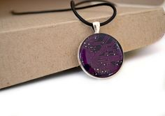 purple necklace, circuit board necklace, steampunk , geometric jewelry, geeky, circle, goth. $22.00, via Etsy.