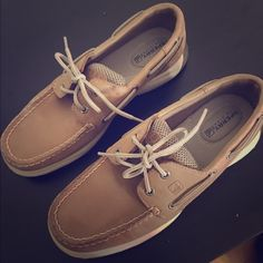 Sperry's! Worn only once! Classic tan sperry's. I got them as a gift after just buying another pair. Worn only once so they're in perfect condition! Sperry Top-Sider Shoes Flats & Loafers