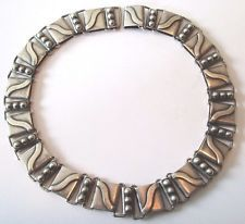 Heavy Vintage  Taxco HA Hector Aguilar Linked Mexican Sterling Silver Necklace