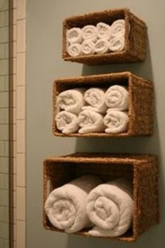 There's always a different way to look at things! Check out these wicker baskets turned on their side for towels. Easy and stylish bathroom design tip :)