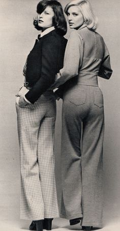 Left: blouse and pants - Karl Lagerfeld for Chloe, sweater - Sweater Bazaar, shoes - Charles Jourdan, Right: Kenzo Jap, Marie Claire - March 1972, Photographed by Marc Hispard
