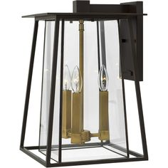 Buy the Hinkley Lighting Buckeye Bronze Direct. Shop for the Hinkley Lighting Buckeye Bronze Walker 3 Light High Outdoor Wall Sconce with Clear Glass Shade and save. Black Outdoor Wall Lights, Outdoor Hanging Lights, Outdoor Wall Lantern, Outdoor Wall Sconce, Outdoor Wall Lighting, Outdoor Walls, Home Lighting, Lighting Ideas, Exterior Lighting