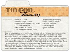 tin foil dinners food recipe recipes ingredients instructions dinner recipe cards diner recipes easy recipes