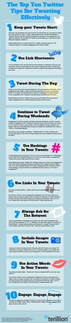 The Top Ten Twitter Tips For Tweeting Effectively ~ Smart, easy and practical strategies for using #Twitter well