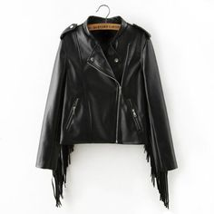 bf3bbce0778 autumn winter new fringed faux PU leather tassels sleeve back zippers women  Motorcycle Jacket coat black Oh Yeah Visit us. Stylect · Jackets
