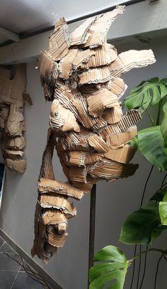 Carton - Joël Abouzit The simple amount sitting its scalp between properly injury biceps and Cardboard Sculpture, Art Sculpture, Cardboard Crafts, Sculpture Ideas, Modern Sculpture, Recycled Art Projects, 3d Art Projects, Trash Art, Inspiration Art