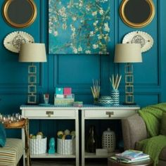 Teal + Green accents