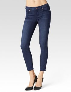 Made from our most luxuriously soft TRANSCEND fabric. Using the latest performance fiber technology, this denim features an innovative formula that combines chic with comfort and won't stretch out no matter what. It has true denim appeal and moves with you all day. A super stretchy, mid rise, ultra skinny cropped jean with a 26' inseam. It's slim from the leg down to mid-calf, hugging every curve along the way and perfect for showing off your favorite footwear. This pair comes in a mid..
