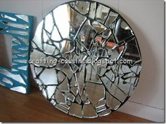 I have a old vanity mirror in attic. Maybe use a little colored concrete to fill in space, added security & weather resistant:) Outdoor decoration Mirror Mosaic, Mosaic Art, Mosaic Tiles, Mirror Mirror, Mosaics, Mirrors, Broken Mirror Projects, Broken Mirror Art, Old Vanity