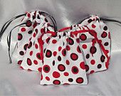 Red Polka Dot - Medium Drawstring Pouches -5pcs