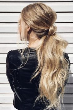 interesting take on a messy ponytail - style | hair - long hair - blonde - wavy - inspiration - photography - ideas
