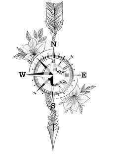 Compass Thigh Tattoo, Mandala Compass Tattoo, Compass Tattoo Design, Arrow Tattoo Design, Arrow Compass Tattoo, Nautical Compass Tattoo, Geometric Tattoo Compass, Compass Tattoo Drawing, Arrow Forearm Tattoo