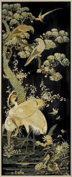 """<b>FOUR OLD CHINESE SILK EMBROIDERIES</b> <br /> Set of four, old Chinese silk embroideries; each finely detailed and depicting a different bird and floral scene, including cranes, ducks, parrots, sparrows, and pheasant; amid pine, peonies, plum blossoms, berries and magnolias; all in neutral gold and green color palette on black grounds; 43"""" x 17"""" (each approx.); each framed"""