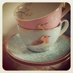 Teacups with little birds. Who wouldn't love to sip tea outta these cuties. Saucer is sweet as well.