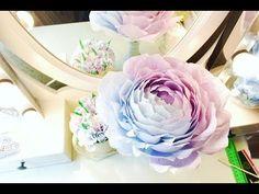 Большая роза из гофро бумаги (1 часть) - YouTube