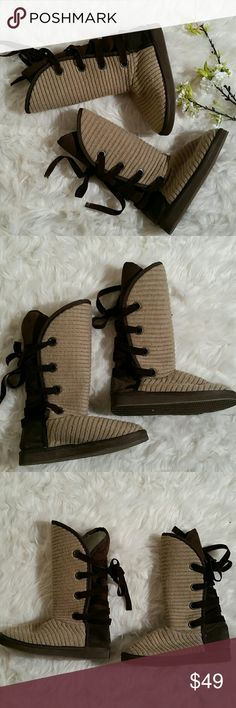 Muk Luks Knit Boots Tan Knit Muk Luks Boots with Brown back tie laces. Size 6. NWOT. Muk Luks Shoes