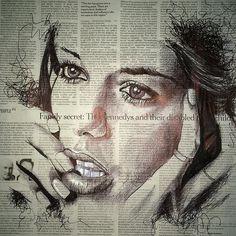 ball pen portrait on news paper | Sam Guillemot.