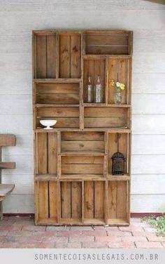 librero palet vintage madera reciclada, pallets, tarima